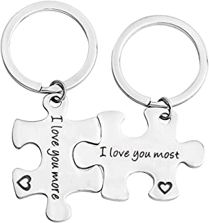 bobauna Stainless Steel I Love You More I Love You Most Puzzle Piece Keychain Set for Couples Mother Daughter (I love you ...