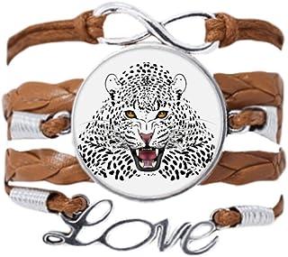 DIYthinker tête de Tigre Ferme King Animal la Corde tordue de Cuir Noir Bracelet Bracelet Love