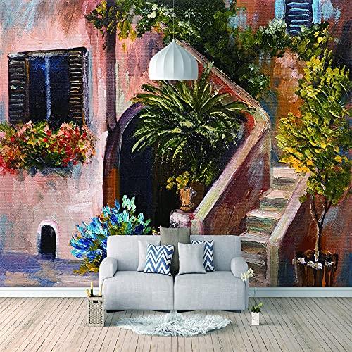 Papel Pintado 3D Foto Murales Casa de flores del sol,Papel Tapiz Fotográfico Premium No-Tejido Mural Apto para Sala de Estar Dormitorio Decoración de la Papel Tapiz 450x300 cm - 9 tiras
