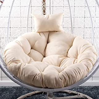 Overstuffed Chair Cushion, Sink Into Our Thick Comfortable and Oversized Papasan, Pure 100% Cotton Duck Fabric, Fits Standard 41 Inch Round Chair - Chair Not Included (Color : White)
