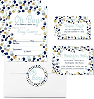 """Deluxe Polka Dot Blue & Gold Themed Boy Baby Shower Party Bundle, Includes 20 Each of 5""""x7"""" Fill in Invitations, Diaper Raffle Tickets, Bring a Book Cards & 2"""" Thank You Favor Stickers w/Envelopes"""