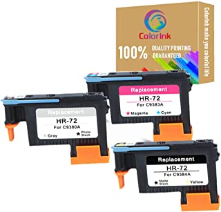 ColorInk HP72 Remanufactured printheads C9380A C9383A C9384A with New Updated Chips Compatible with HP Designjet T610 T620 T770 T790 T1100 T1120 1200 T1300 T2300 Printer printhead(1MK/Y+1C/M+1PK/G)