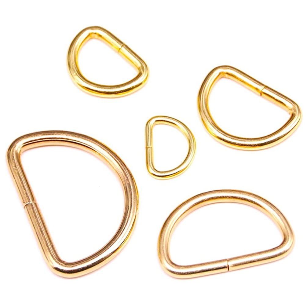 Swpeet 100 Pcs Gold Assorted Multi-Purpose Metal D Ring Semi-Circular D Ring for Hardware Bags Ring Hand DIY Accessories - 1/2 Inch, 5/8 Inch, 3/4 Inch, 1 Inch, 5/4 Inch (Gold)