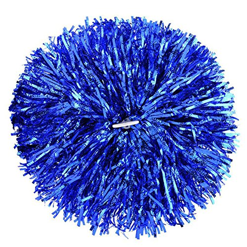Fodattm 2 Cheerleading Poms Dance Ball Party Sport Zeitgemäß Metallic Folie Cheerleader Pom Poms Sports Party Zubehör für Fußball Basketball Cheers, blau, Large