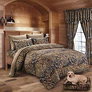 22 pc Mixed set White Snow Camo Queen sheets King Comforter and three curtains