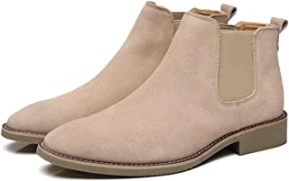 Xiang Ye Casual Ankle Boots for Men Chelsea Boot Pull on Suede Pointed Toe Block Heel Elastic Sides Anti-Slip (Fleece Lined Optional) (Color : Buff, Size : 6.5 UK)