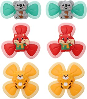 TOYANDONA 6pcs Baby Spinner Toy with Suction Cup Baby Bath Spinning Top Toy Animals Style Interactive High Chair Toy for B...