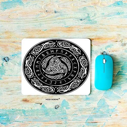 HGOD DESIGNS Gaming Mouse Pad Odin,Triple Horn of Odin Decorated with Scandinavic Ornaments and Runes Mousepad Rectangle Non-Slip Rubber Mouse Pads(7.9'X9.5')