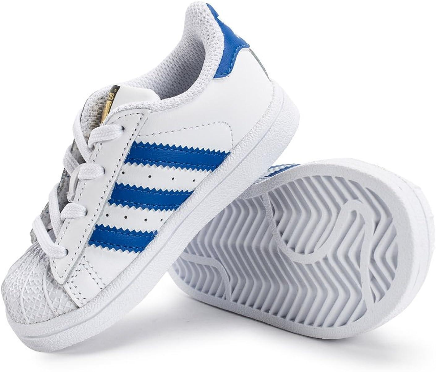 adidas Chaussures Superstar I Blanc/Bleu/Blanc : Amazon.fr ...