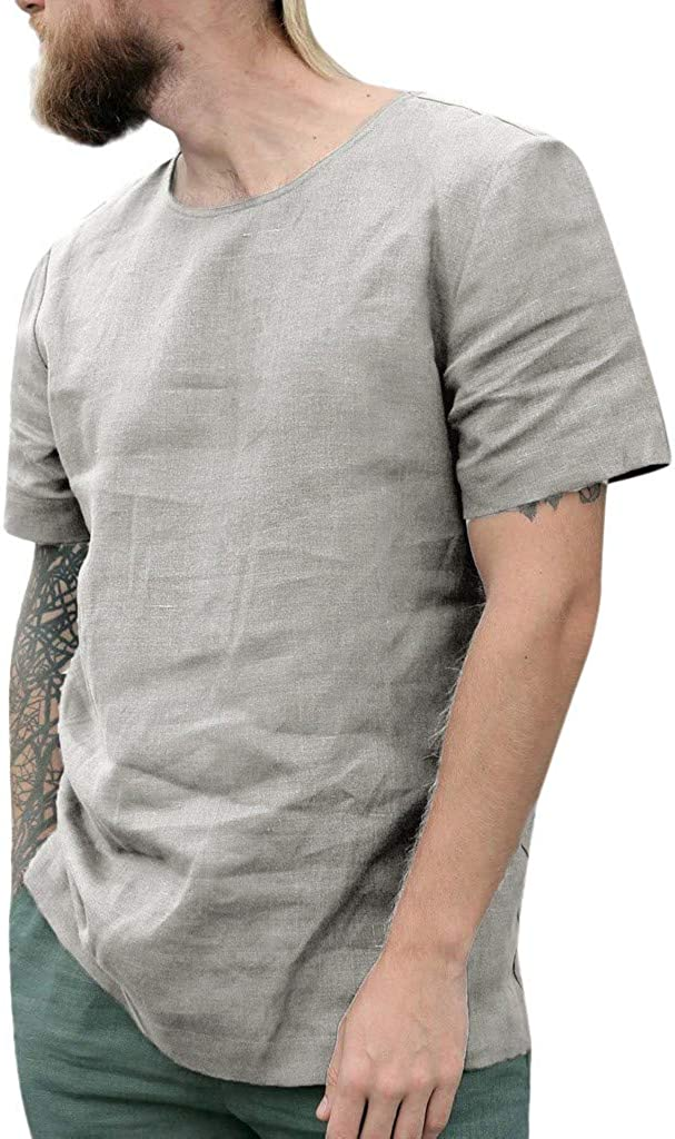 Shirt Deluxe for Men F_Gotal Online limited product Men's T-Shirts Baggy Linen Cotton Summer