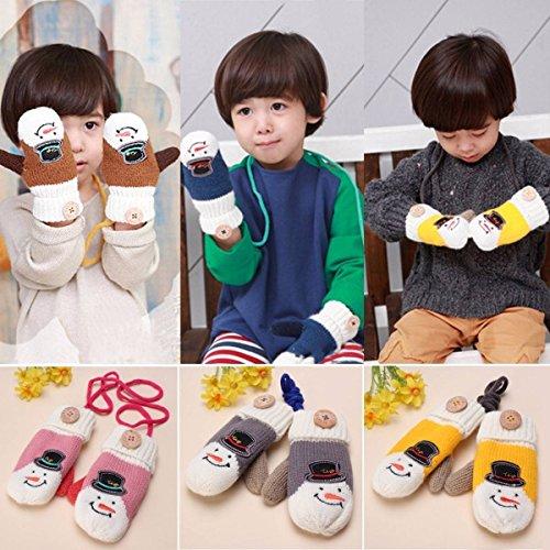 mark8shop Weihnachten Winter Kids Mädchen Baby Strick warme Fäustlinge Xmas Ski Handschuhe Weihnachts Geschenk