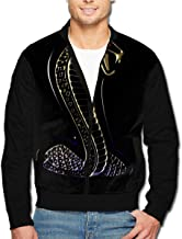 Ford Mustang Cobra Logo Men's Classic Bomber Jacket Casual Lightweight Full-Zip Coat with Pockets