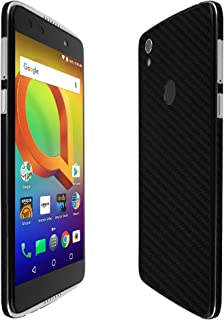 Skinomi Black Carbon Fiber Full Body Skin Compatible with Alcatel Idol 5S (Full Coverage) TechSkin with Anti-Bubble Clear Film Screen Protector