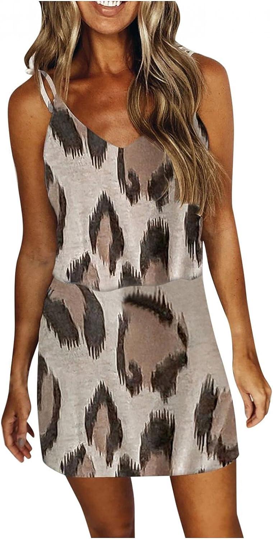 Gerichy Summer Dress for Women 2021 Sexy Leopard Print Sleeveless V Neck Dress Drawstring Mini Bodycon Workout Dress