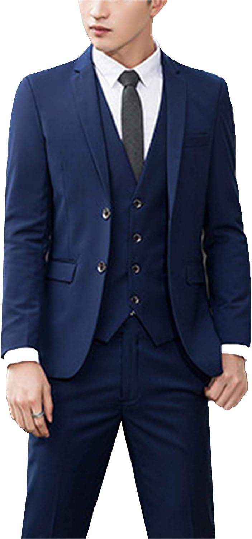 Men's Suits Blue One Button Tuxedo Business Blazer 3 Pieces Set Formal Jackets Vest Pants Wedding Party Slim fit