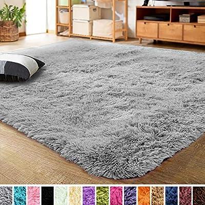 LOCHAS Ultra Soft Indoor Modern Area Rugs Fluffy Living Room Carpets for Children Bedroom Home Decor Nursery Rug 4x5.3 Feet, Gray