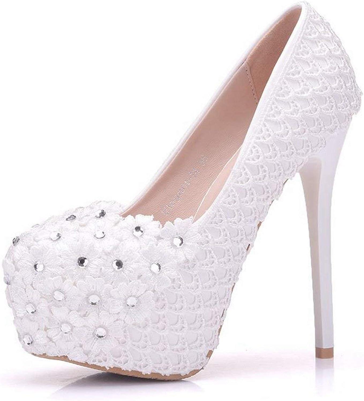 Qiusa Damen-versteckte Plattform-weiße Spitze blüht Stilett-Brauthochzeits-Schuhe Großbritannien 4.5 (Farbe   -, Größe   -)    Verkaufspreis