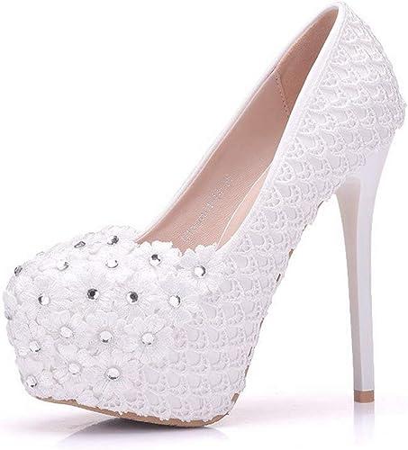 ZHRUI ZHRUI ZHRUI Les Les dames Plate-Forme cachée Chaussures de mariée en Dentelle de Fleurs Stiletto (Couleuré   blanc-14cm Heel, Taille   2.5 UK) d42