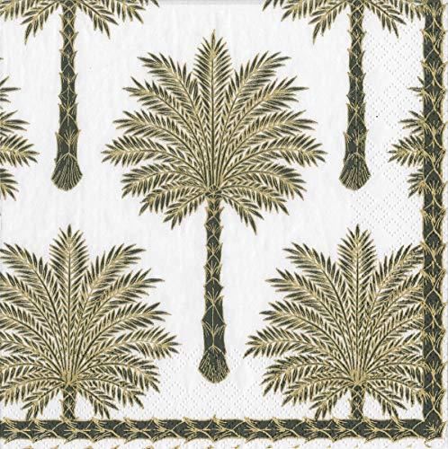 Caspari Grand Palms Zwart Papier Luncheon Servetten - 20 Per Pakket 3 lagen 33 cm Vierkant