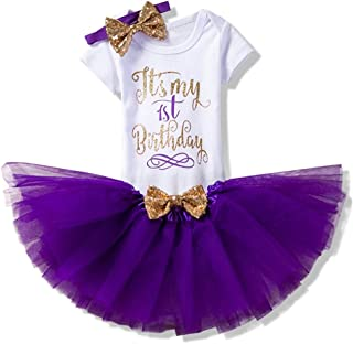 Bandeau Costume Anniversaire Deguisement Princesse Bebe Tenue Outfit Set 6-18 Mois Violet ranrann Ensemble V/êtement B/éb/é Fille Barboteuse Manche Courte Tutu Jupe