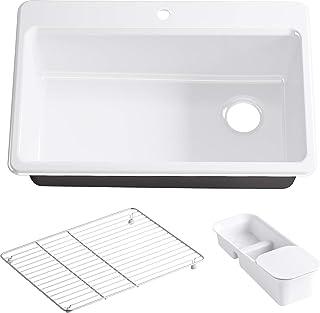 KOHLER K-5871-1A2-0 Riverby Single Bowl Top-Mount Kitchen Sink, White