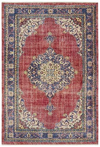 Nouristan Orientalischer Design Teppich Tabriz Ladiz mit Fransen Farah (200 x 290 cm, 80% Baumwolle, 20% PE Chenille, Pflegeleicht, Fußbodenheizung geeignet), Rot Indigo, 200x290 cm