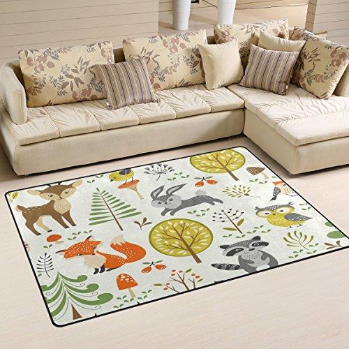 Use7 Teppich, Motiv: Sommerwald, Baum, Fuchs, Bär, Kaninchen, Ananas, rutschfeste Fußmatte, Fußmatte, Wohnzimmer, Schlafzimmer, 100 x 150 cm
