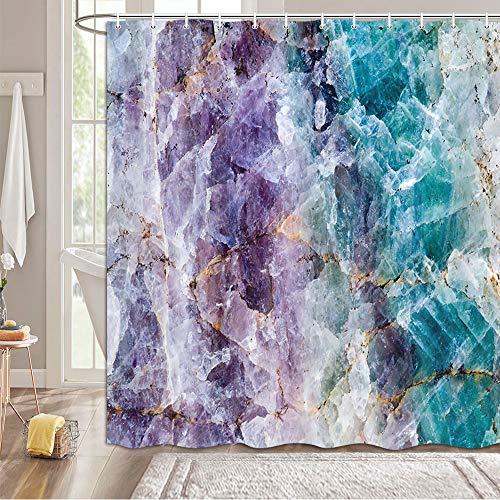 MERCHR Duschvorhänge für Badezimmer, abstrakte bunte Amethyst-Kristalle, Mineralsteinstein-Duschvorhang, Polyester-Stoff, Marmor-Badevorhänge mit 12 Haken, 174 x 178 cm, Blaugrün / Violett