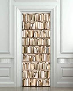 Bibliothèque porte papier peint auto-adhésif DoorPoster bricolage auto-adhésif mur photo PVC papier peint étanche-80X200 CM