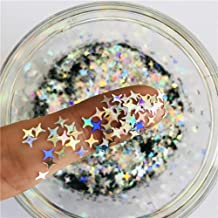 Stars Confetti Glitter Four-Angle Star Laser Sequins for DIY Crafts, Nail Art Decoration, Party Decoration - Holographic Silver, 4mm, 10g