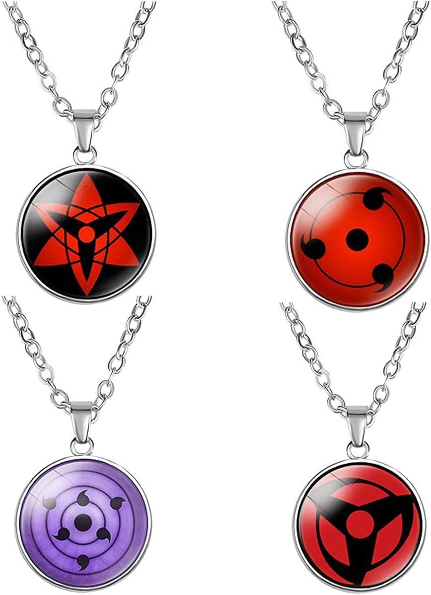 I3C Anime Naruto Colgante con Diseño Sharingan, Accesorio Cosplay Collar Naruto de Aleación de Zinc Unisex para Hombres, Mujeres y Fans de Naruto