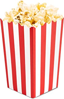Set of 100 Popcorn Favor Boxes - Mini Paper Popcorn Bags and Snack Containers, Carnival Party Supplies for Movie Night, Movie Theme Party, Red and White, 3.5 x 3.5 x 5.5 Inches
