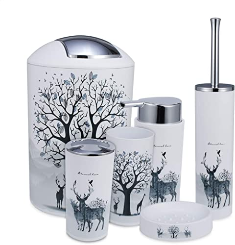 iMucci Grey Tree Deer 6pcs Bathroom Accessories Set - with Trash Can Toothbrush Holder Soap Dispenser Soap and Lotion...