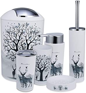 iMucci Grey Tree Deer 6pcs Bathroom Accessories Set - with Trash Can Toothbrush Holder Soap Dispenser Soap and Lotion Set ...