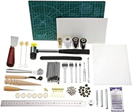 61 PCS Leather Craft Working Tools Kit, Stamping Tools with Cutting Mat, Stitching Groover, Prong Punch, Snaps, Rivets Kit...