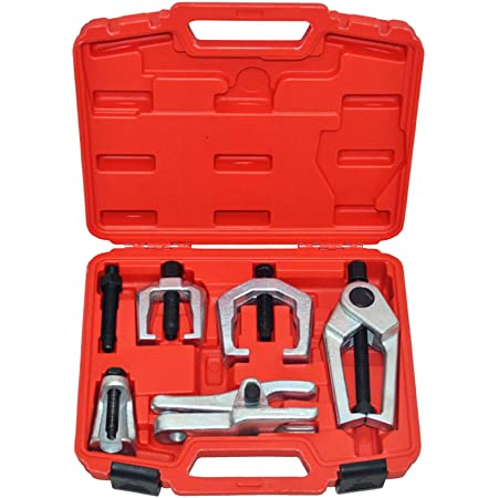 A ABIGAIL Front End Service Tools Set 5pcs Ball Joint Separator for Pitman Arm Tie Rod Puller with Red Suitcase Universal Use