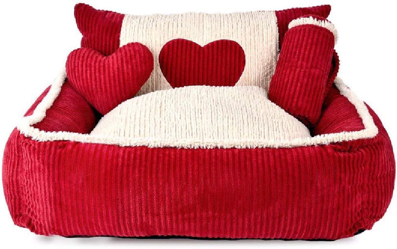Pet Dog Cat House Bed Doghouse washable medium sized dog dog mat cat litter pet dog bed supplies four seasons,l (80x78x28cm)