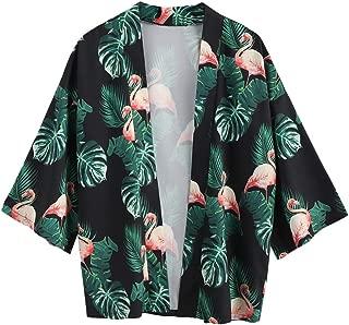 Men's Japanese Style Flamingo Palm Print Front Open Kimono Cardigan