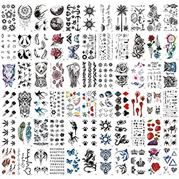 Zayvor 66Sheets Temporary Tattoos for Women Men Waterproof Tiny Black Handrawn Tattoos Fake Body Face Arm Chest Shoulder Foot Tattoos,Butterfly Flowers Planets Letters Temp Tattoo Sticker Set
