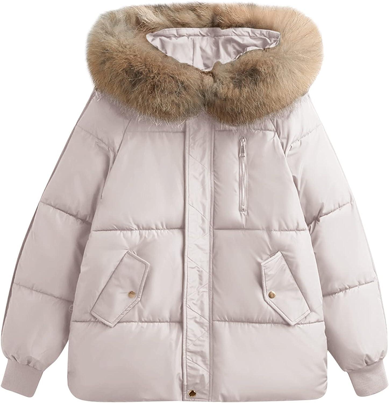 ERTG Women Packable Quilted Jacket Lightweight Cotton Coat Short Bread Coat with Artificial Fur-Grass Trimmed Hooded