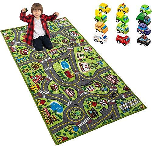 JOYIN Kids Play Rugs with 12 Pull-Back Vehicle Set, Durable Kids Carpet Playmat Rug, City Pretend Play, Toddler Car Track Rug