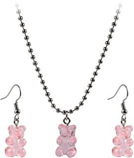 Pingyongchang Cute Mini Gummy Bear Dangle Earrings Pendant Necklace Aesthetic Jewelry Set Cute Candy Animal Earrings Birth...
