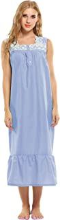 Ekouaer Womens Nightgown 100% Cotton Victorian Long Sleeveless Sleepwear