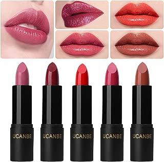 UCANBE Matte Lipstick Set 5 PCS Highly Pigmented Super Creamy Silk Lip Stick Natural Long Wearing Moisturizing Velvet Lipstick Kit Glitter Shimmer Lip Gloss Cosmetic