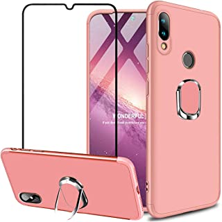 Xiaomi Redmi Note 7 / Redmi Note 7 Pro Case, GUANING [3 in 1] Full Body Protection Matte Shockproof Anti-Scratch Cover 360 Rotating Kickstand Magnetic Ring Holder Case with Tempered Glass, Rose Gold