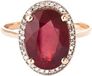 Galaxy Gold 7.93 Carat 14k Solid Rose Gold Ring with Natural Oval-Shaped Ruby and Genuine Diamonds