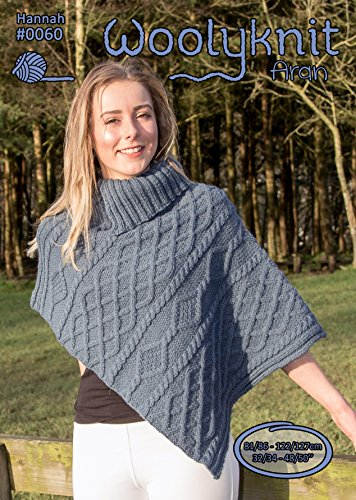 0060 - Hannah - Breipatroon bijsluiter | Aran patroon | dames | Asymmetrische poncho