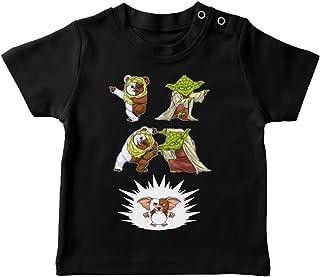 T-Shirt bébé Noir Parodie Star Wars - Gremlins - Yoda, Un Ewok et Gizmo - Fusion !! YAHA !!(T-Shirt de qualité supérieure...
