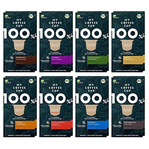 My Coffee Cup – GOURMET-KAFFEE-BOX: 160 KAPSELN BIO-KAFFEE I Kaffeekapseln für Nespresso®³-Kapselmaschinen I 100% industriell kompostierbare Kaffeekapseln – 0% Alu I Nachhaltige Kaffeekapseln