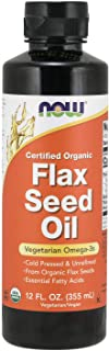 NOW Supplements, Certified Organic Flax Seed Oil Liquid, Cold-Pressed and Unrefined, 12-Ounce